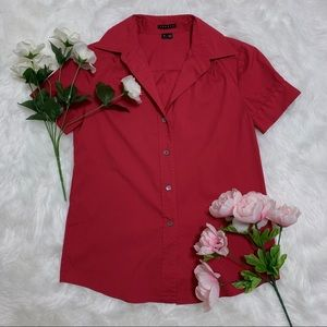 Theory Red Button Down Blouse